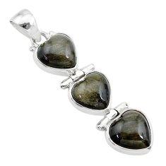 13.70cts 3 hearts golden sheen black obsidian 925 sterling silver pendant t22188