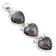 13.73cts 3 hearts golden sheen black obsidian 925 sterling silver pendant t22189