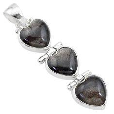 14.72cts 3 hearts golden sheen black obsidian 925 sterling silver pendant t22191