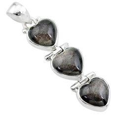 14.68cts 3 hearts golden sheen black obsidian 925 sterling silver pendant t22192