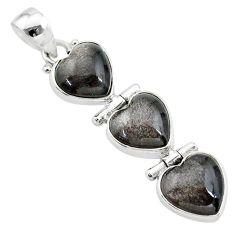 13.55cts 3 hearts golden sheen black obsidian 925 sterling silver pendant t22194