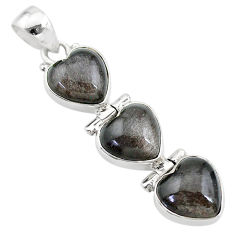 13.67cts 3 hearts golden sheen black obsidian 925 sterling silver pendant t22197