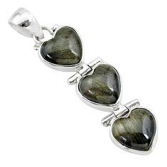 13.83cts 3 hearts golden sheen black obsidian 925 sterling silver pendant t22198