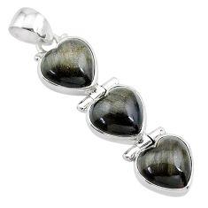 14.10cts 3 hearts golden sheen black obsidian 925 sterling silver pendant t22200