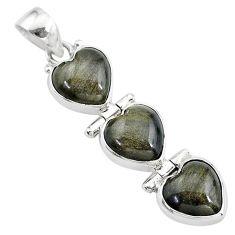 14.23cts 3 hearts golden sheen black obsidian 925 sterling silver pendant t22201