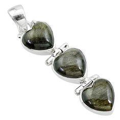 13.70cts 3 hearts golden sheen black obsidian 925 sterling silver pendant t22202