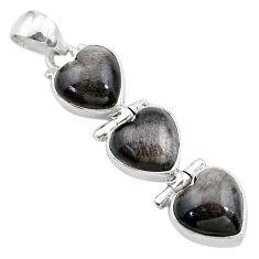 13.73cts 3 hearts golden sheen black obsidian 925 sterling silver pendant t22203