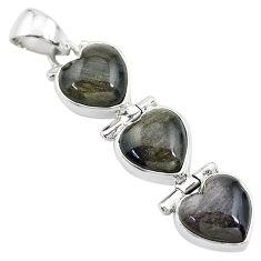 14.23cts 3 hearts golden sheen black obsidian 925 sterling silver pendant t22205