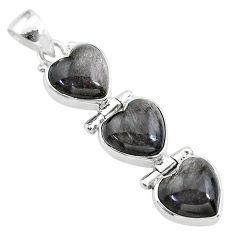 14.18cts 3 hearts golden sheen black obsidian 925 sterling silver pendant t22206