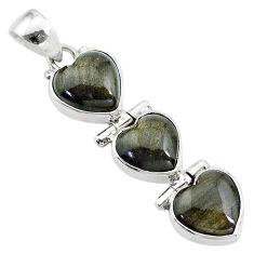 13.65cts 3 hearts golden sheen black obsidian 925 sterling silver pendant t22209