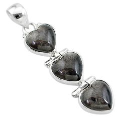 13.32cts 3 hearts golden sheen black obsidian 925 sterling silver pendant t22211