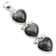 14.23cts 3 hearts golden sheen black obsidian 925 sterling silver pendant t22212