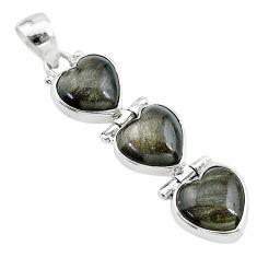 14.18cts 3 hearts golden sheen black obsidian 925 sterling silver pendant t22215