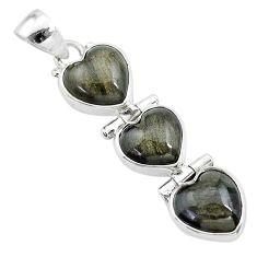 13.57cts 3 hearts golden sheen black obsidian 925 sterling silver pendant t22217