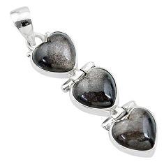 13.97cts 3 hearts golden sheen black obsidian 925 sterling silver pendant t22218