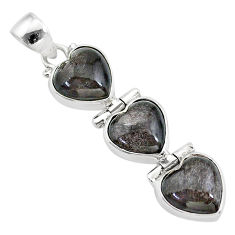 14.55cts 3 hearts golden sheen black obsidian 925 sterling silver pendant t22220
