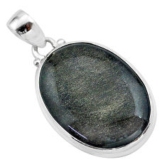 19.72cts natural golden sheen black obsidian 925 sterling silver pendant t42550