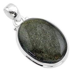 16.70cts natural golden sheen black obsidian 925 sterling silver pendant t42566