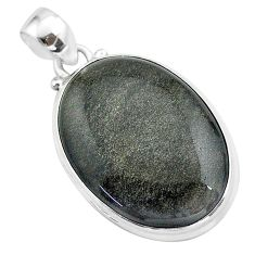 18.68cts natural golden sheen black obsidian 925 sterling silver pendant t42578