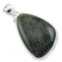 17.57cts natural golden sheen black obsidian 925 sterling silver pendant t42589