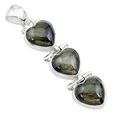 14.18cts 3 hearts golden sheen black obsidian heart 925 silver pendant t22187
