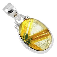 6.04cts natural golden star rutilated quartz 925 sterling silver pendant r60188