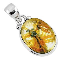 10.18cts natural golden star rutilated quartz 925 sterling silver pendant r60194