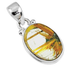 6.15cts natural golden star rutilated quartz 925 sterling silver pendant r60200