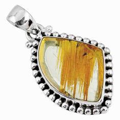 12.99cts natural golden star rutilated quartz 925 sterling silver pendant r60201