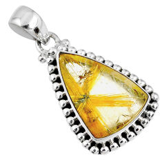 12.10cts natural golden star rutilated quartz 925 sterling silver pendant r60207