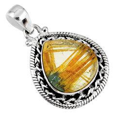 12.60cts natural golden star rutilated quartz 925 sterling silver pendant r60215