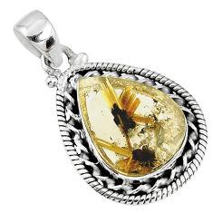 11.57cts natural golden star rutilated quartz 925 sterling silver pendant r60226