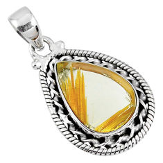 10.32cts natural golden star rutilated quartz 925 sterling silver pendant r60229