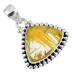 11.57cts natural golden star rutilated quartz 925 sterling silver pendant r60231