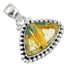 9.63cts natural golden star rutilated quartz 925 sterling silver pendant r60233