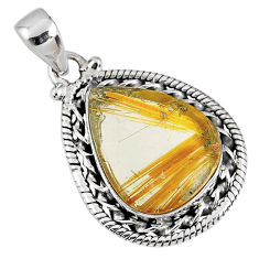 12.99cts natural golden star rutilated quartz 925 sterling silver pendant r60235