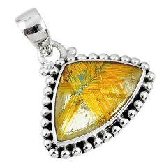 8.05cts natural golden star rutilated quartz 925 sterling silver pendant r60237