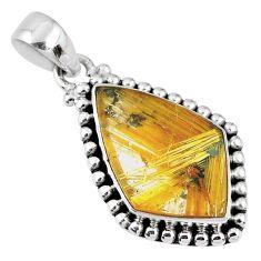12.07cts natural golden star rutilated quartz 925 sterling silver pendant r60242