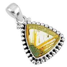 9.25cts natural golden star rutilated quartz 925 sterling silver pendant r60243