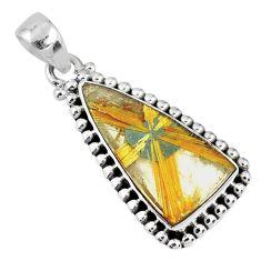 12.03cts natural golden star rutilated quartz 925 sterling silver pendant r60245