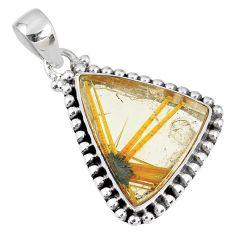 14.77cts natural golden star rutilated quartz 925 sterling silver pendant r60246