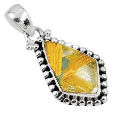 7.62cts natural golden star rutilated quartz 925 sterling silver pendant r60248