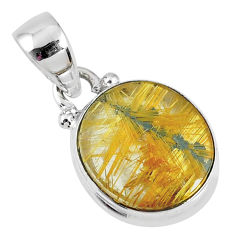 6.15cts natural golden star rutilated quartz 925 sterling silver pendant r60258