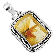 13.07cts natural golden star rutilated quartz 925 sterling silver pendant r60261