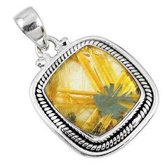 12.77cts natural golden star rutilated quartz 925 sterling silver pendant r60262
