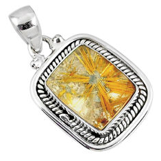 9.90cts natural golden star rutilated quartz 925 sterling silver pendant r60274