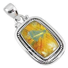 8.45cts natural golden star rutilated quartz 925 sterling silver pendant r60279