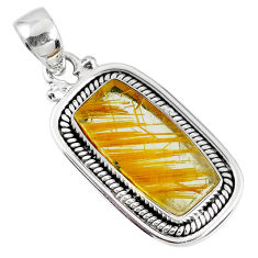 6.31cts natural golden star rutilated quartz 925 sterling silver pendant r60406