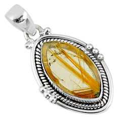 9.04cts natural golden star rutilated quartz 925 sterling silver pendant r60407