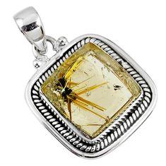 12.73cts natural golden star rutilated quartz 925 sterling silver pendant r60410